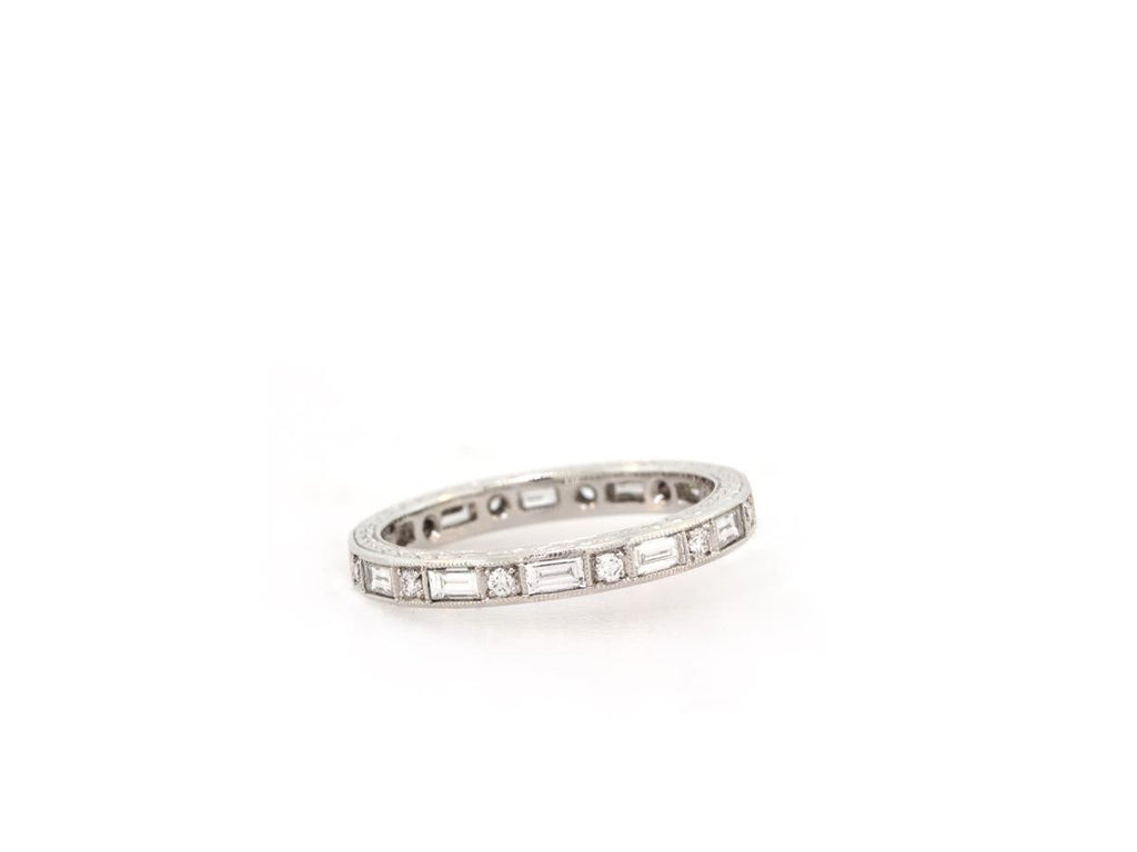 Round and Baguette Diamond Deco Style Eternity Band