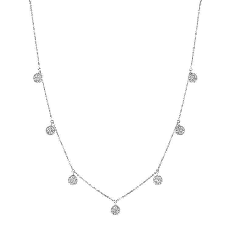 Pave Diamond Multi Disc Necklace
