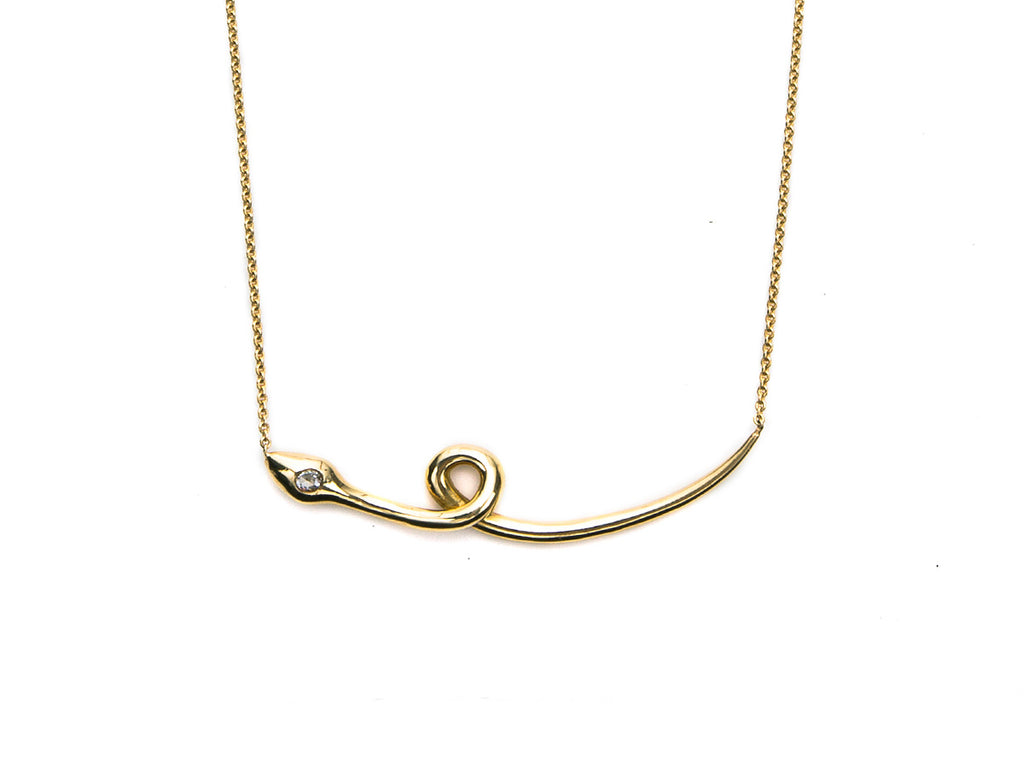 Polished Gold Snake Necklace