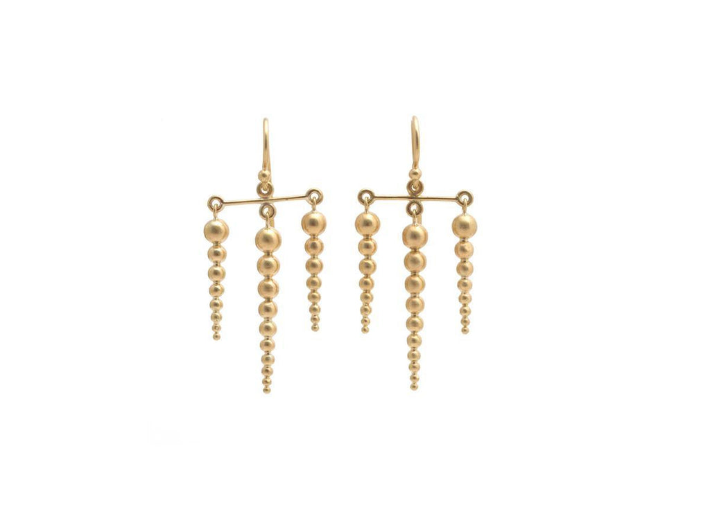 Triple Row Gold Chandelier Earrings