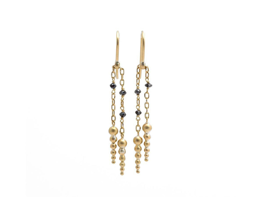 Black Diamond Gold Fringe Earrings
