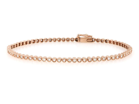 Bezel Set Diamond Rose Gold Tennis Bracelet