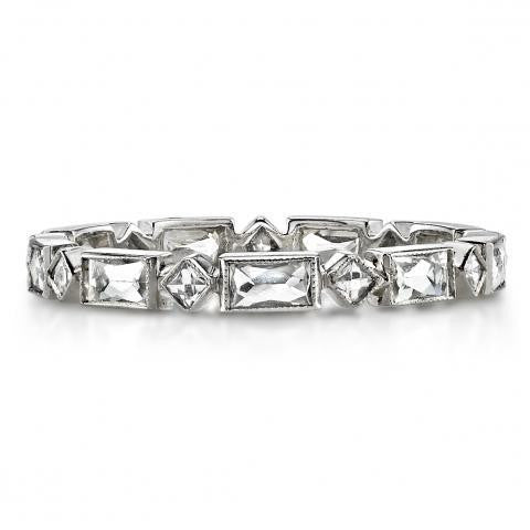 'Madeline' Platinum Alternating French Cut Diamond Eternity Band