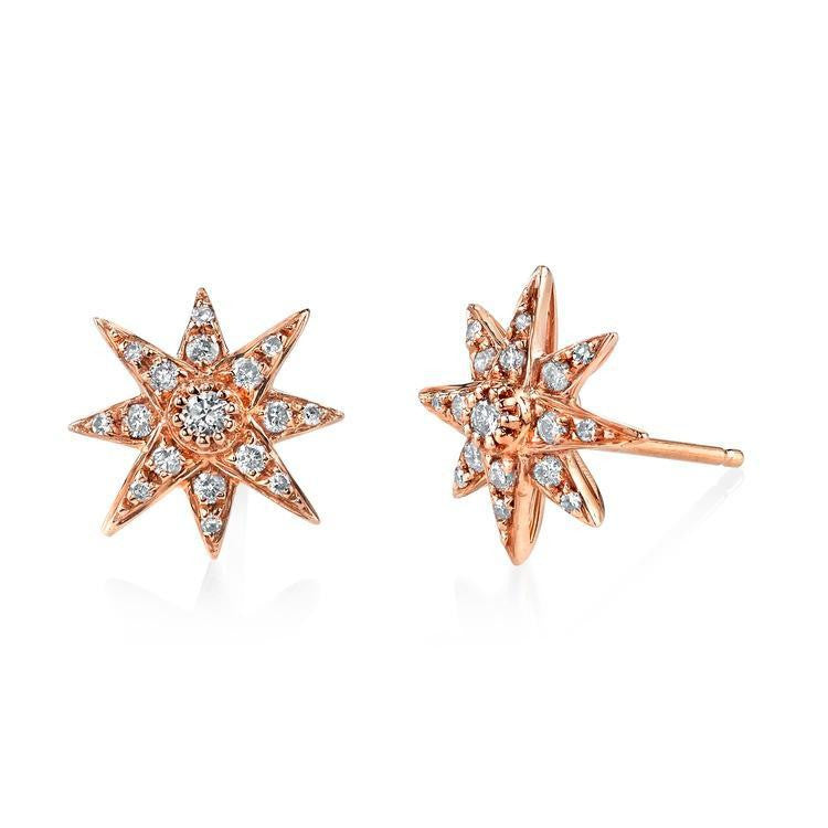 Rose Gold Diamond Starburst Stud Earrings