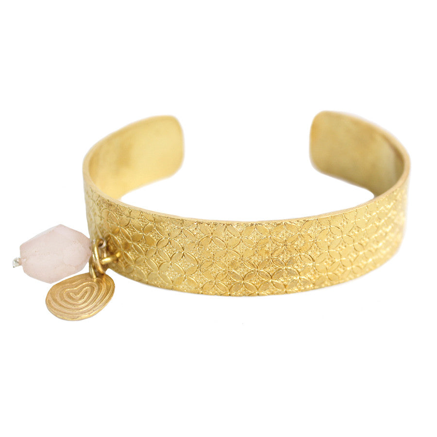 Bangle Gold Rose Quartz Bracelet