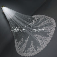 FREE SHIPPING#20308003 3.8*3 Meters Sequin/Lace Applique Edge Two-Tier Cathedral Wedding Veil