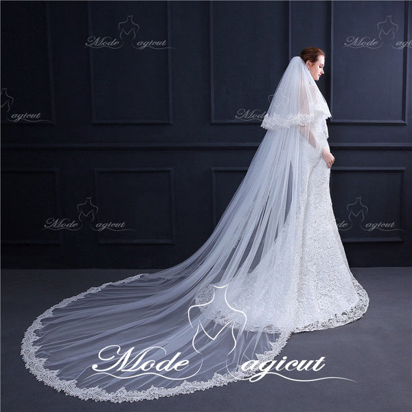Free Shipping #30308026 Lace Cathedral Bridal Veils Two-tier