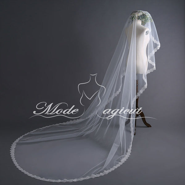 FREE SHIPPING#04308020 3 Meters One-Tier Ivory Cathedral Wedding Veil