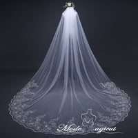 FREE SHIPPING#19308005  3*3 Meters One-Tier Sequins Lace Edge Cathedral Bridal Veils Bridal Veils with Comb