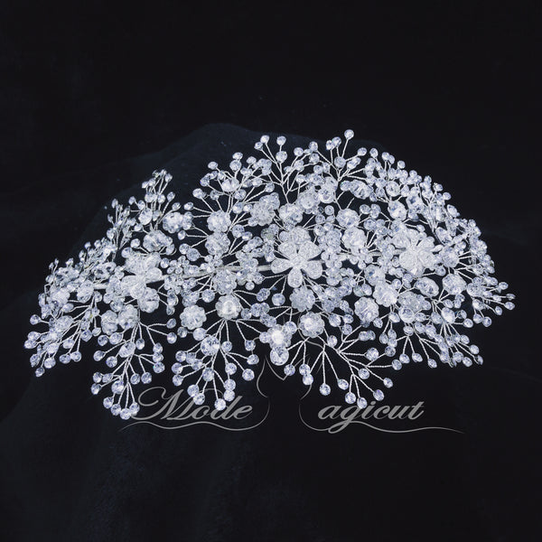 Free Shipping(In Canada)#18419016 Grand Bridal Headpiece Rhinestone / Alloy