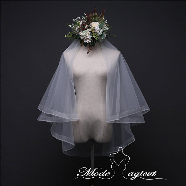 FREE SHIPPING#07308012 Two-tier Pencil Edge Elbow Bridal Veils