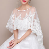 #10228002 Ivory Fashion Bridal Wrap with Lace Applique