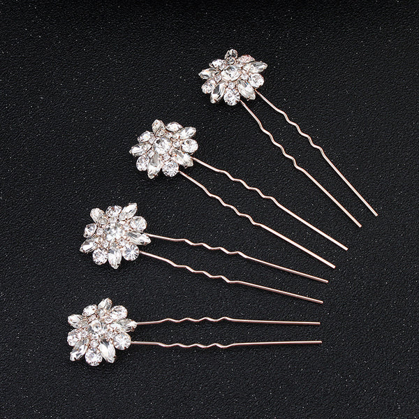#04448188 Golden Rhinestones/Alloy Hairpins (Set for 4)