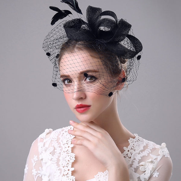 #05948014 Elegant Bow-knot Style with Veil and Headband Fascinators