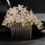 #04428065 Golden Elegant Rhinestone Alloy Flowers Combs & Barrettes