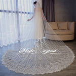 FREE SHIPPING#20308022 1-Tier Silvery Bone Alencon Lace Appliques Edge Cathedral Bridal Veils