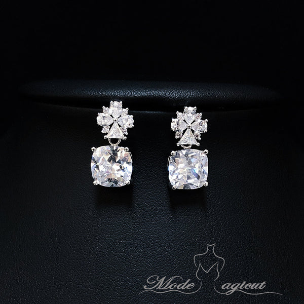 #20406 Stud Earrings, Sterling Silver Cubic Zirconia Square Diamond Dangle Earrings