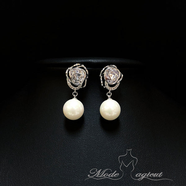 #20481 Elegant Rosette Sterling Silver Cubic Zirconia Stud Earrings with Imitation Pearls Pendant