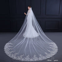 FREE SHIPPING#21308006  4*3 Meters Sequins Lace Applique Edge Cathedral Bridal Veils with Comb