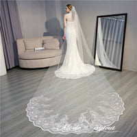 FREE SHIPPING#14308007 4*1.6 Meters One-tier Sequins Lace Applique Edge Cathedral Bridal Veils with Comb
