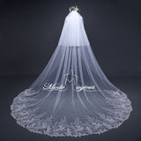 FREE SHIPPING#21308018 3.8*3 Meter Sequins Lace Applique Edge 2-Tier Cathedral Bridal Veil with Comb