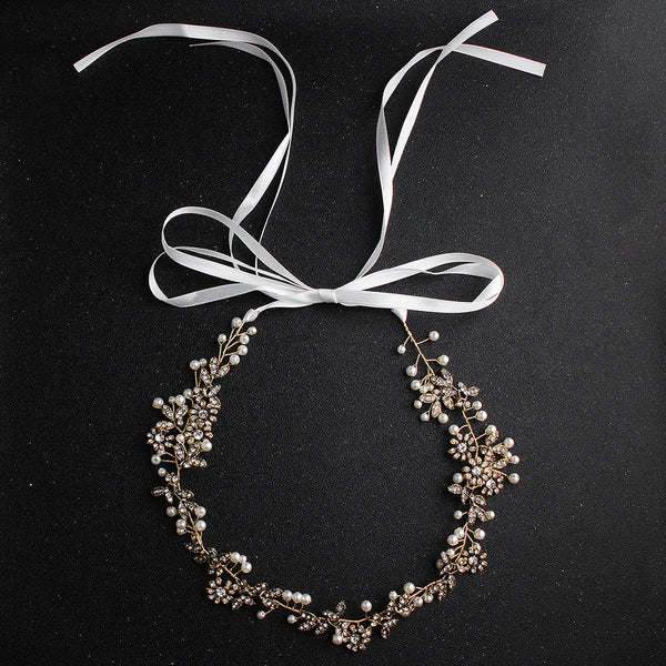 #06418077 Floral Crystal Headbands with Imitation Pearls