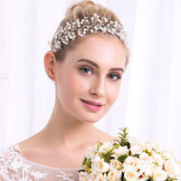 #08418071 Pearl And Crystal Silver Alloy Handmade Headband With Organza