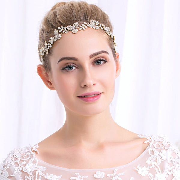 #06417214 Leaf shape Golden Rhinestone/Alloy Headband