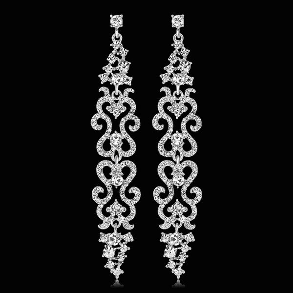 #02538098 Long Classic Alloy/Rhinestone Drop Earrings