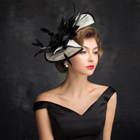 #14948028 Classic Black and Ivory Ladies' Linen Fascinators With Feather