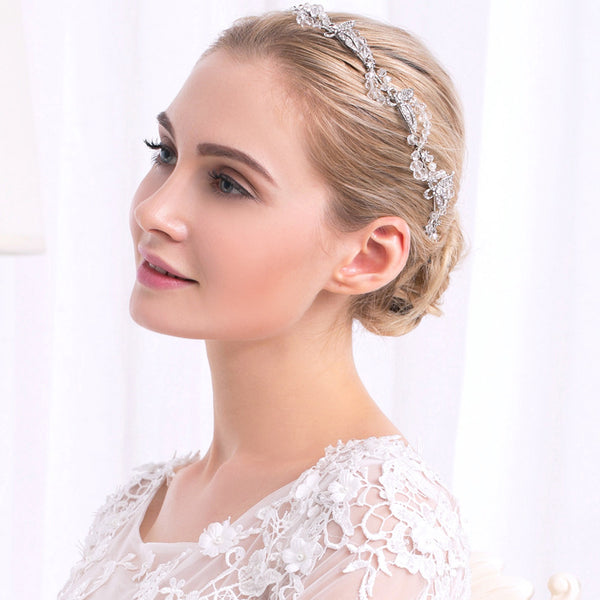 #04418080 Rhinestone Leaf Headband With Crystal embellished