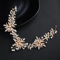 #09418197 Golden Color Rhinestone Alloy with Imitation Pearls Headband