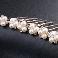 #02448211 Elegant Imitation Pearls Rhinestones Alloy  Hairpins ( Set for 6)