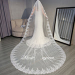 FREE SHIPPING#21308020 3.5*3 Meter One-tier Lace Applique Edge Cathedral Bridal Veils