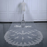 FREE SHIPPING#12308019 3.5*1.6 Meter One-Tier Sequins Lace Applique Edge Cathedral Bridal Veil with Comb