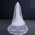 FREE SHIPPING#12308021 3*1.5 Meter One-tier Lace Applique Edge Cathedral Bridal Veils with Comb