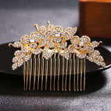 #04428066 Elegant Golden Rose Pattern Combs&barrettes
