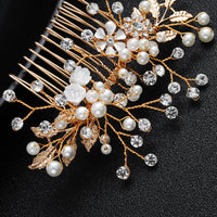 #04448187 Golden Rhinestone Imitation Pearls Hair Comb