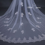 FREE SHIPPING#20308016 3.8*3 Meter Sequins Lace Applique Edge 2-Tier Cathedral Bridal Veil with Comb