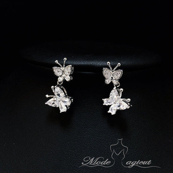 #502614 Beautiful Drop Earrings with Two zircon Butterfly Pendants