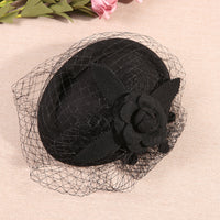 #14948006 Ladies' Vintage Wool Fascinators With Flower and Veil