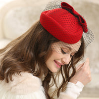 #14948007 Elegant Wool Fascinators with Bow-knot and Veil