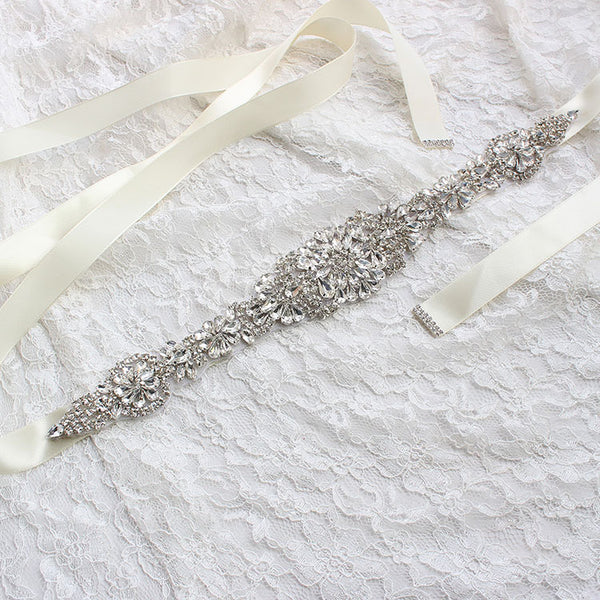 #06608278 Bridal Ribbon Sash with Rhinestones applique