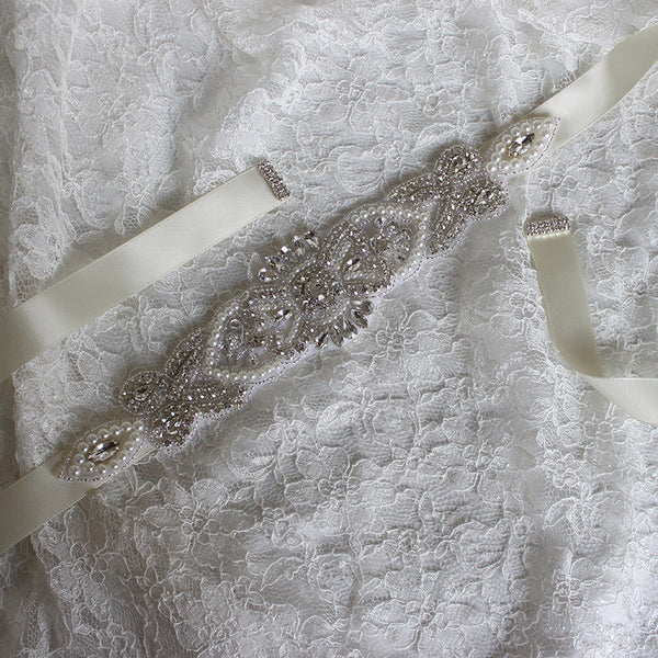 #05608279 Ivory Ladies' Ribbon Sash with Rhinestones and Imitation Pearls Applique