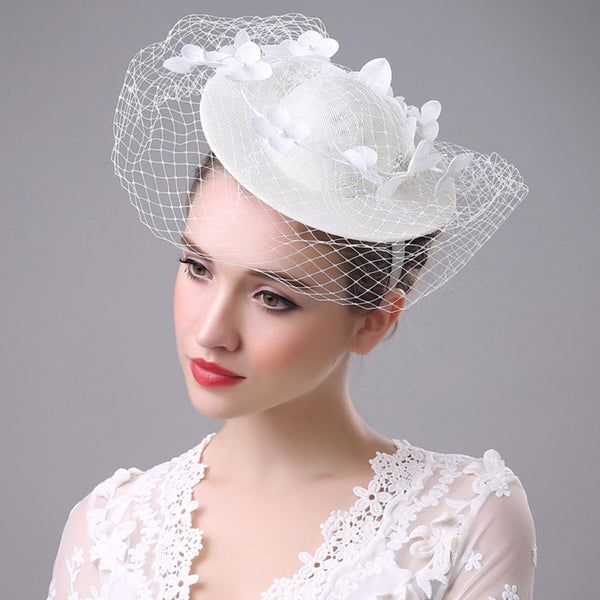 #11948013 Ivory Elegant Ladies' Fascinators with Flower and Veil on top