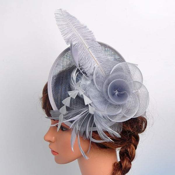 #05948011 Vintage Linen Fascinators With Feather / Mash Flower