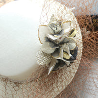 #10948021 Elegant Ivory Linen Fascinators with Flowers and Veil