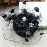 #09948017 Elegant Velvet Fascinators Flowers on top with Barrettes