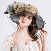 #09968036 Ladies' Elegant Organza Floppy Summer Hat with Bow-knot