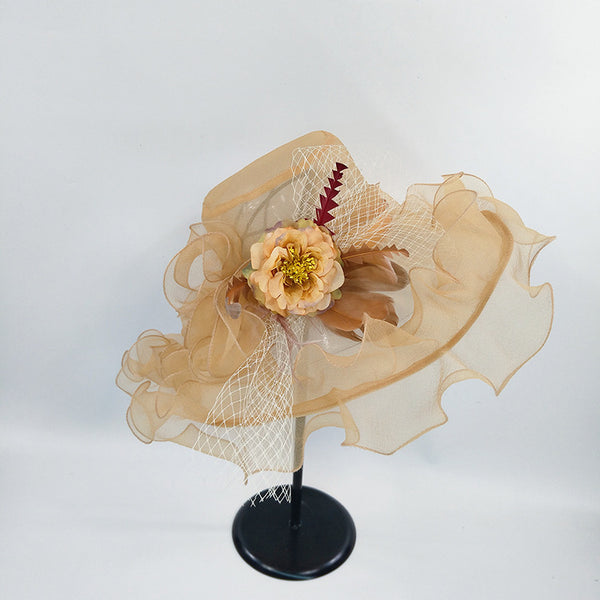 #09968034 Fashion Floppy Organza Summer Hat with Flower